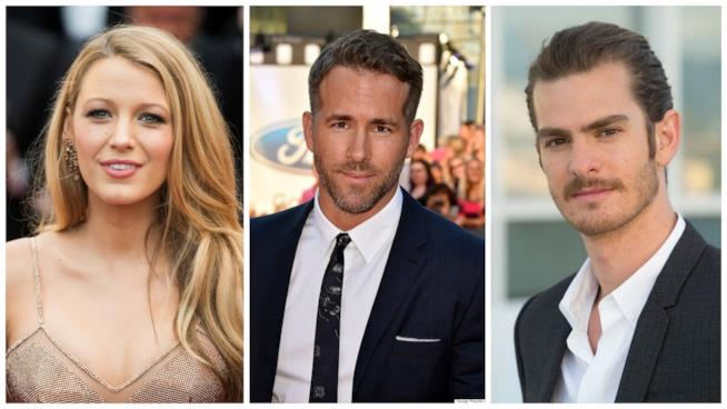 Primo piano di Blake Lively, Ryan Reynolds e Andrew Garfield