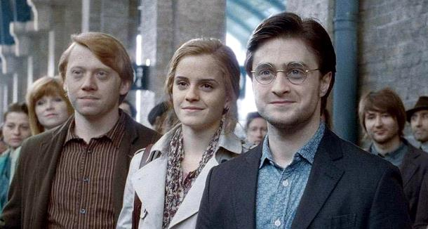 Il Trio nell'epilogo di Harry Potter al cinema