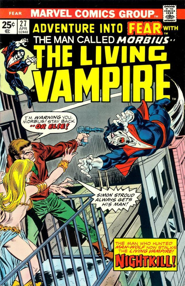 La copertina del fumetto Marvel Fear numero 27, dove Stroud e Morbius si incontrano per la prima volta