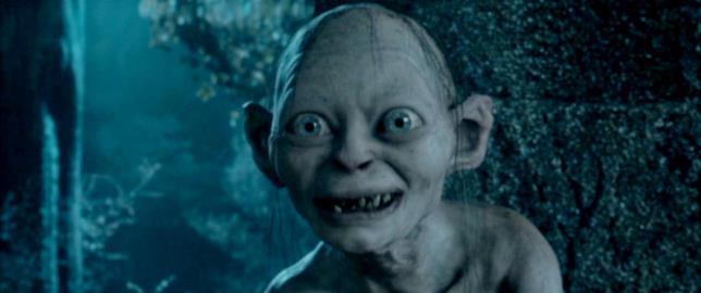 Una scena da Il Signore degli Anelli con Andy Serkis nel ruolo di Gollum