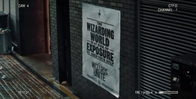 Screen del primo trailer di Harry Potter: Wizards Unite con il manifesto del Ministero della Magia
