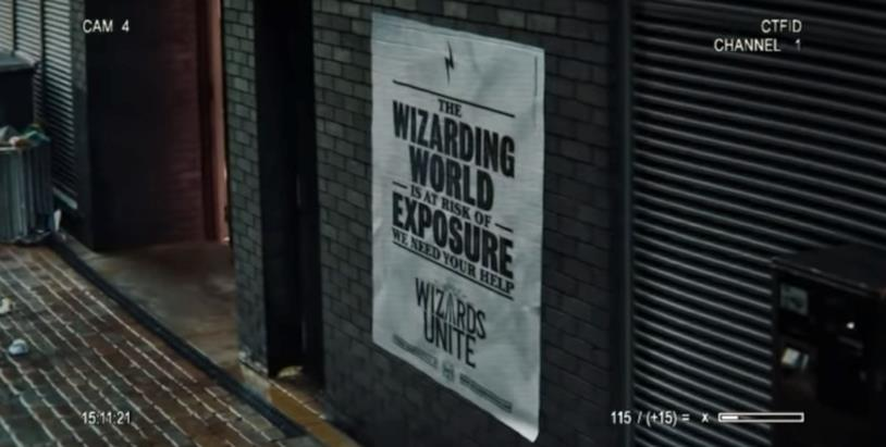 Screen del primo trailer di Harry Potter: Wizards Unite con il manifesto del Ministero della Magia