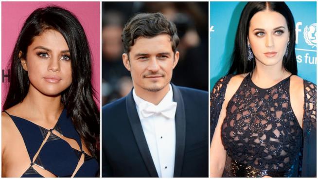 Primo piano di Orlando Bloom, Selena Gomez e Katy Perry