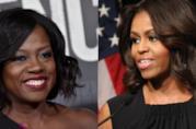 Viola Davis a sinistra, Michelle Obama a destra