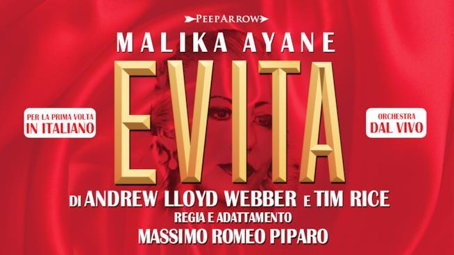 La locandina del musical Evita con Malika Ayane