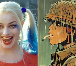 A sinistra il volto di Margot Robbie truccato da Harley Quinn e a destra una immagine di Tank Girl