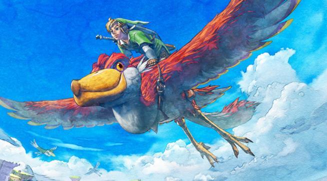 Link in volo in un artwork ufficiale di The Legend of Zelda: Skyward Sword