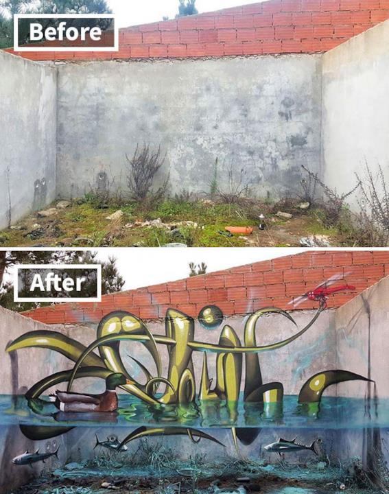 Graffti in 3D: uno stagno con animali