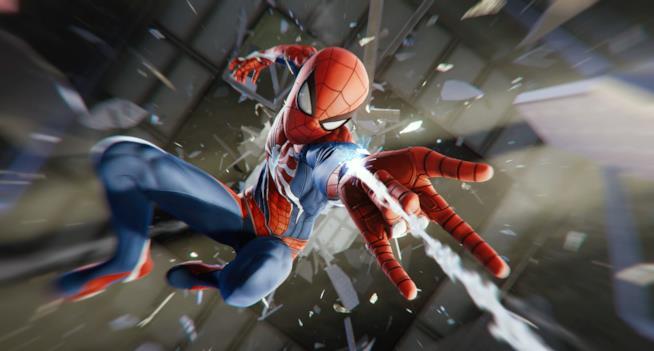 Spider-Man in uno scatto del videogame per PS4