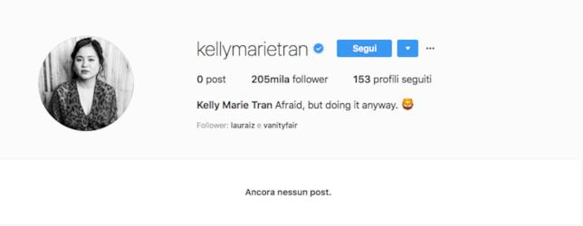 L'account Instagram vuoto di Kelly Marie Tran
