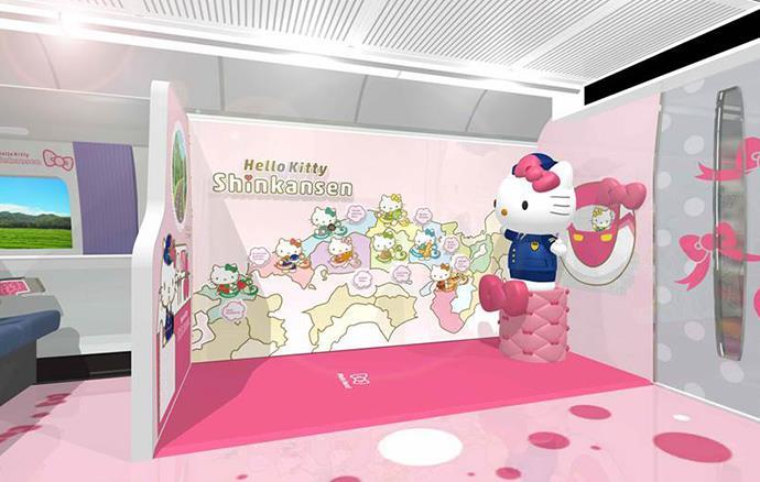 Dettagli sul design della carrozza Kawaii! Room dello Shinkansen a tema Hello Kitty