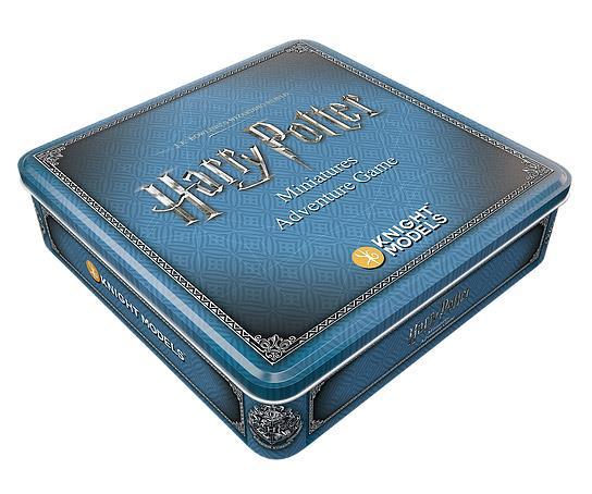 Primo piano del  box del gioco da tavolo Harry Potter Miniatures Adventure Game