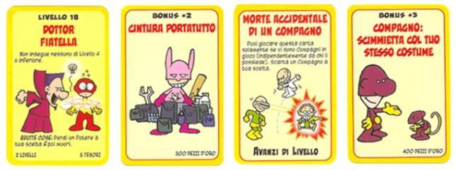 Quattro carte in italiano di Super Munchkin
