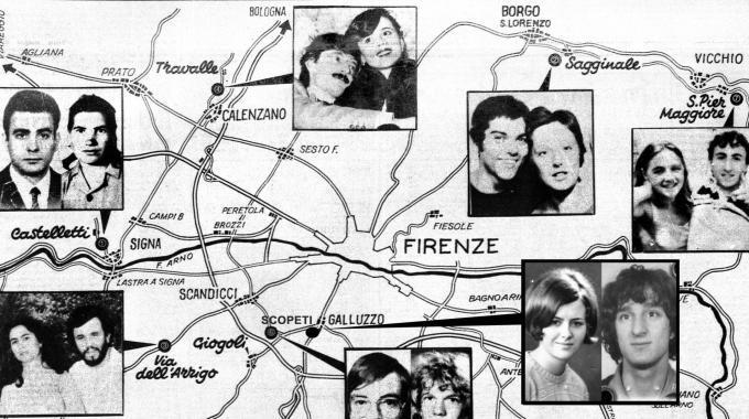Mappa dei delitti del Mostro di Firenze