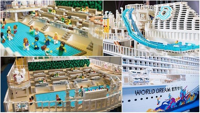 Alcuni dettagli dell'imponente costruzione della nave da crociera World Dream con i mattoncini LEGO