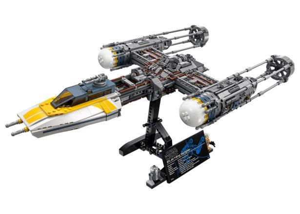 Un primo piano del nuovo set LEGO Y-Wing Starfighter