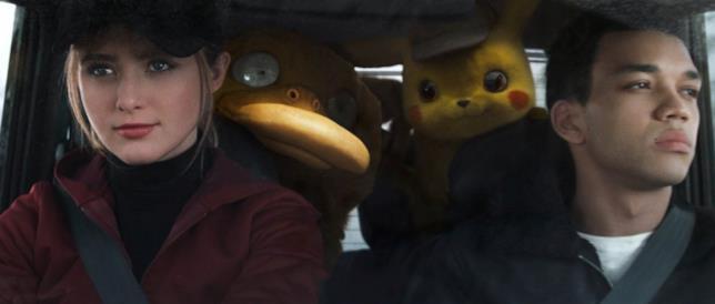 I protagonisti di Pokémon Detective Pikachu in macchina