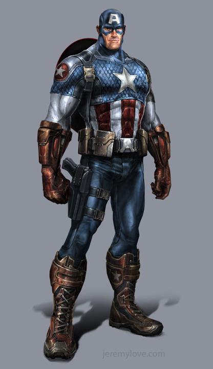 Capitan America in una concept art del videogame Avengers