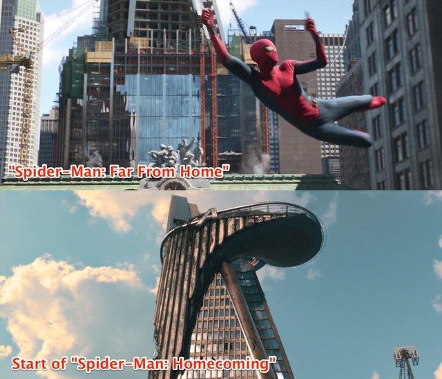 Immagine che mette a confronto lo stato della torre degli Avengers in Far From Home e Homecoming