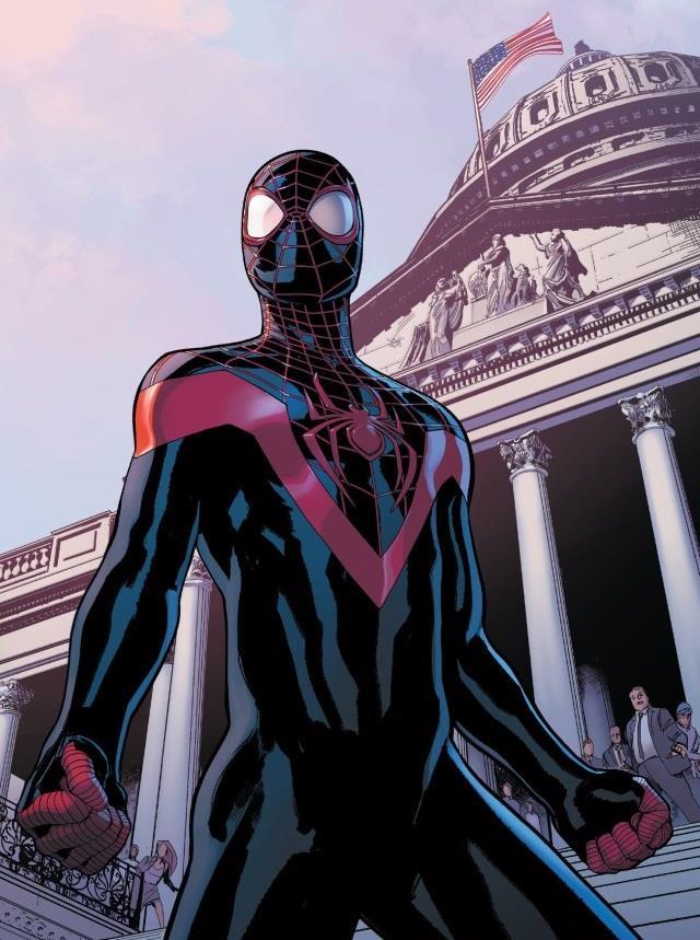 Una tavola di Miles Morales nei panni di Spider-Man