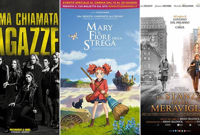I poster dei film Pitch Perfect 3, Mary e il fiore della strega, La stanza delle meraviglie