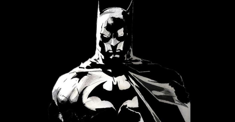 Mezzobusto disegnato di Batman in bianco e nero