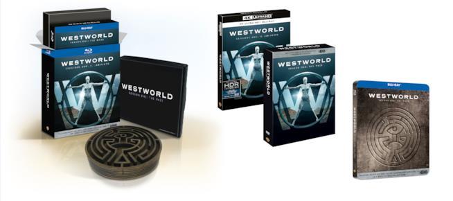 Quattro dei cinque cofanetti Home Video italiani di Westworld