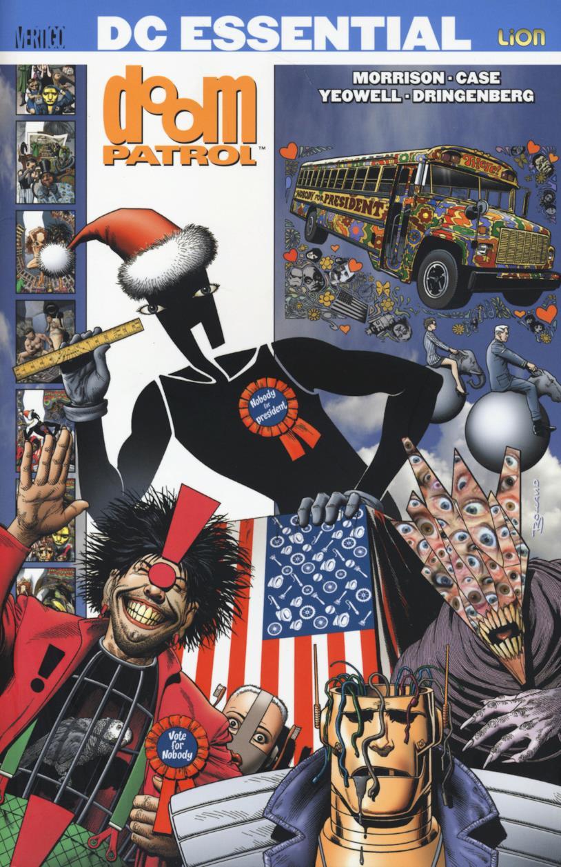 Copertina dei quattro volumi dedicati alla Doom Patrol di Grant Morrison, pubblicati da Lion Comics