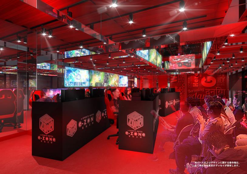 Postazioni di gioco da una foto promozionale dell'albergo E-Zone