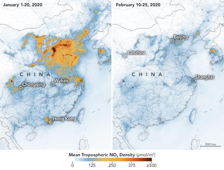 Il grafico della NASA che mostra la significativa riduzione del livello di smog in Cina in seguito al coronavirus