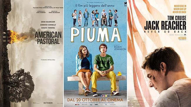 Le locandine dei film American Pastoral, Piuma e Jack Reacher: Punto di Non Ritorno