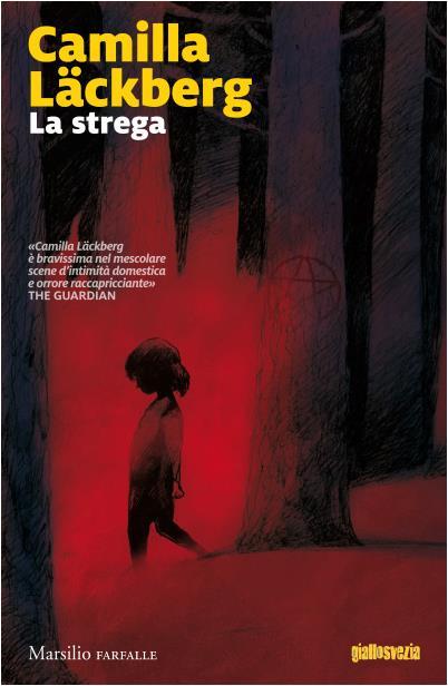 Una bimba cammina in un paesaggio rosso sangue nell'illustrazione di copertina di La Strega