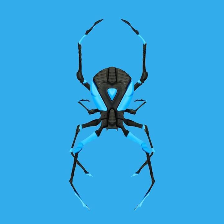Sneaker di colore azzurro trasformate in un ragno 3D