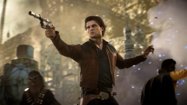 Han Solo in una sequenza di Star Wars Battlefront 2