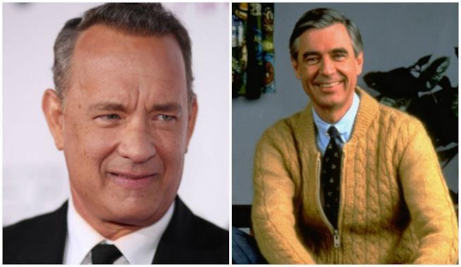 Tom Hanks in un collage con Mr. Rogers