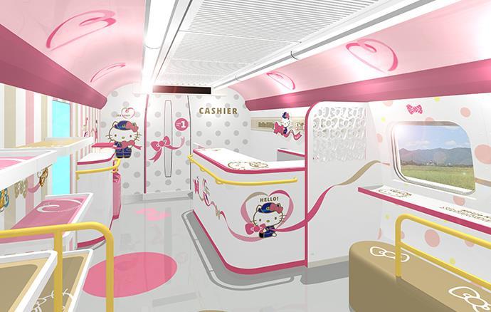 Dettagli della carozza Hello! Plaza dello Shinkansen a tema Hello Kitty