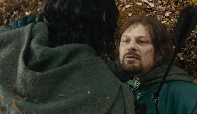 La scena della morte di Boromir ne Il Signore degli anelli