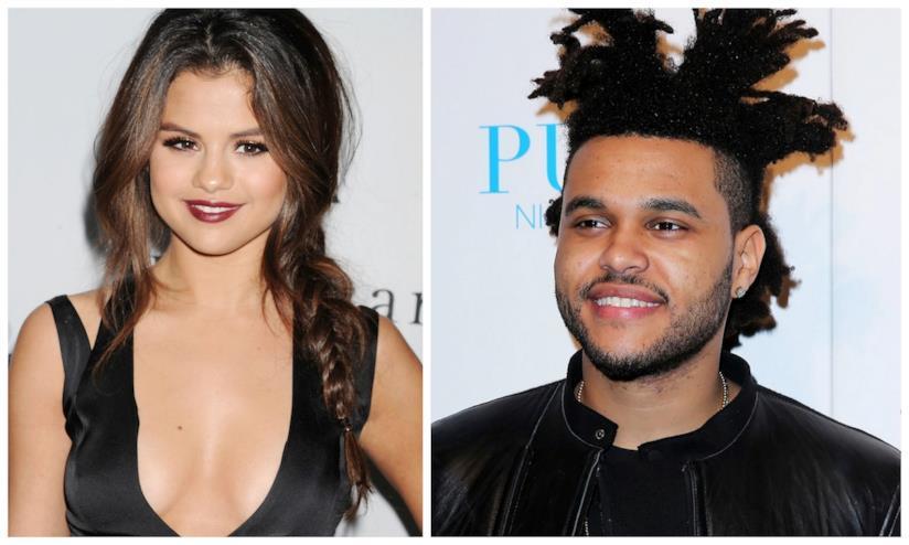 Primo piano di Selena Gomez e The Weeknd
