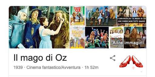 Knowledge graph di Google relativo al film Il Mago di Oz