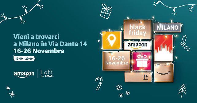 La pubblicità del temporary store Amazon che aprirà a Milano