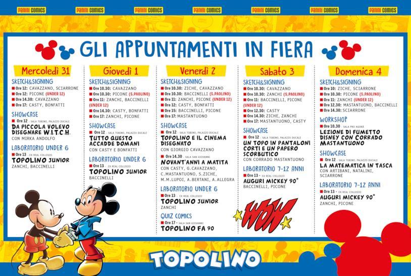 Programma di Lucca Comics per lo stand di Topolino
