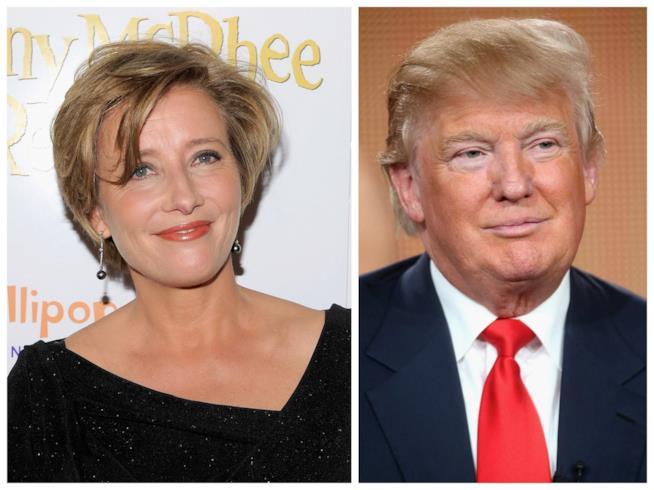Primo piano di Emma Thompson e Donald Trump