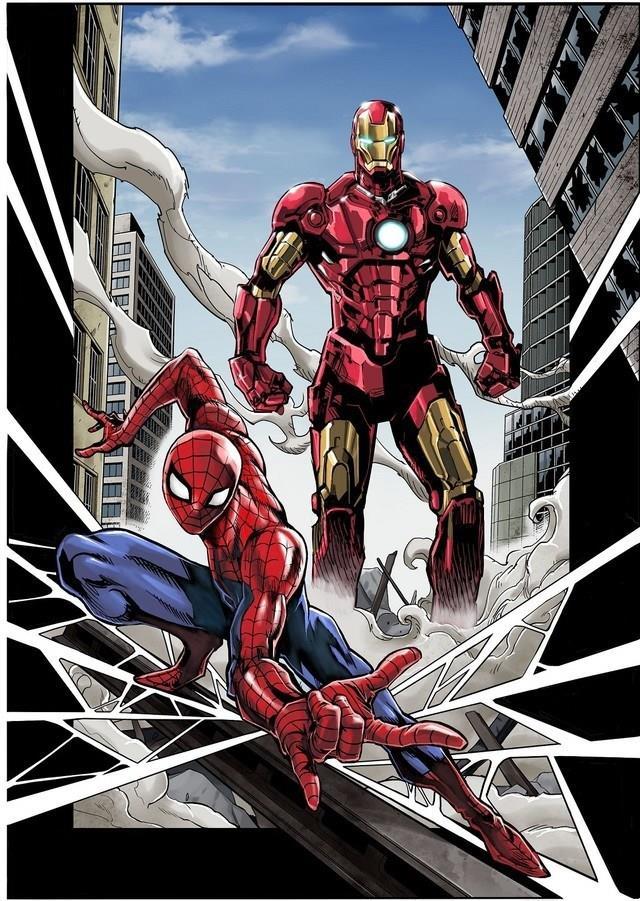 Iron Man e Spider-Man disegnati da mangaka