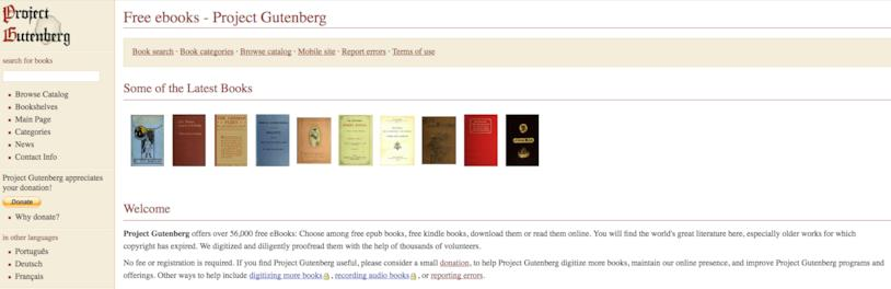 Home page di Porject Gutenberg