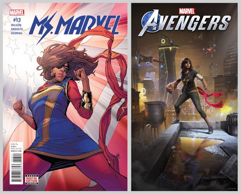 Copertina di Ms. Marvel #13 (sinistra) e artwork di Ms. Marvel per Marvel's Avengers (destra)
