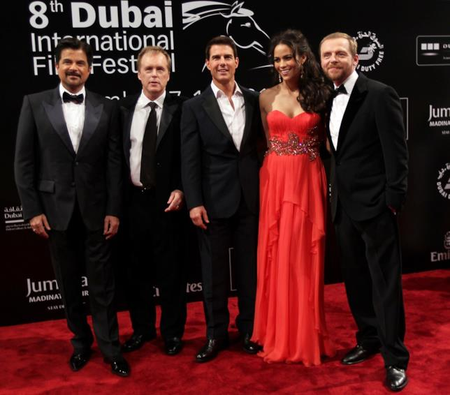 Tom Cruise, Paula Patton, Simon Pegg, Anil Kapoor e il regista Brad Bird