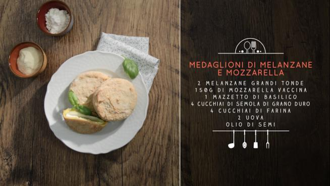 La ricetta dei Medaglioni di melanzane, mozzarella e basilico