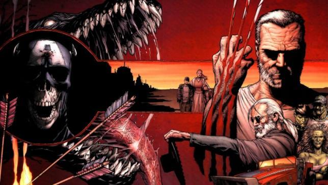 La copertina estesa di Vecchio Logan mostra tutti i protagonisti dell'opera