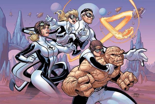 I Fantastici Quattro al gran completo in un'immagine di Terry Dodson