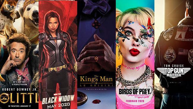I poster di Dolittle, Black Widow, King's Man, Birds of Prey e Top Gun 2